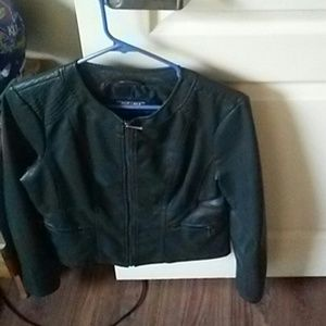 A greenish leather jacket